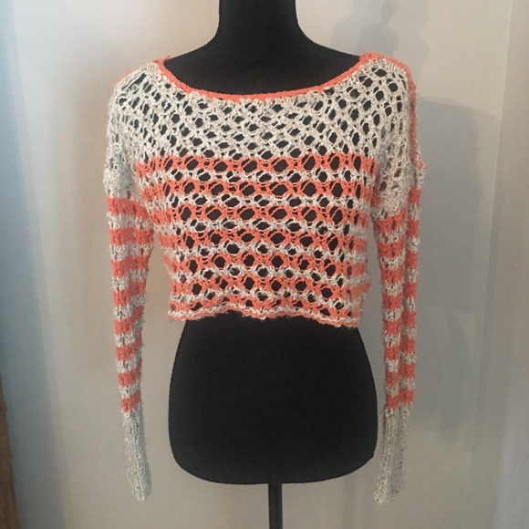 Free People Sweaters - Free People Orange/Cream Crochet Cropped Sweater